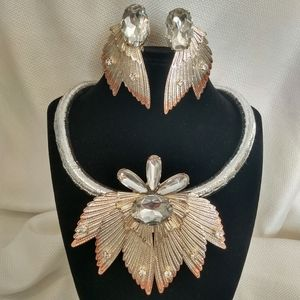 Costume Necklace and Clip Earrings